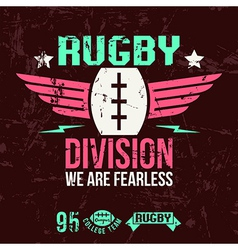 Emblem of the college rugby team vector image vector image