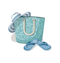 Fashion summer accessories hat bag and flip vector