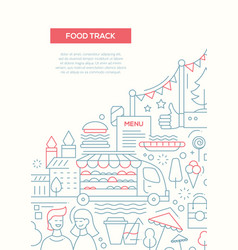 Food track - line design brochure poster template vector