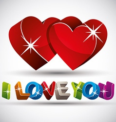 I love you phrase made with 3d colorful letters vector