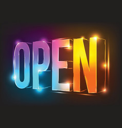 Neon sign open illuminated neon billboard vector