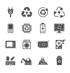 recycling e-waste garbage contains such icons as vector image vector image