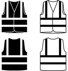 Reflective safety vest black white vector
