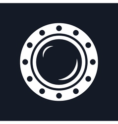 Round ship porthole isolated on black background vector