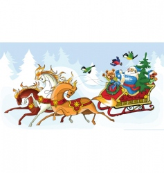 Santa Claus and the horses vector image vector image