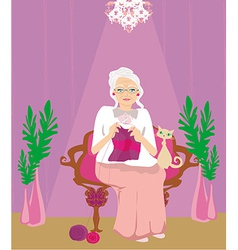 Senior woman knitting vector