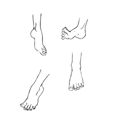 set of 4 different feet in various poses vector image