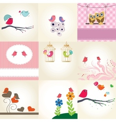 Set of 9 valentines cards with cute birds couples vector image vector image