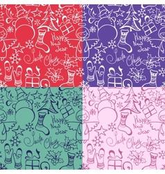 set of Christmas seamless pattern vector image