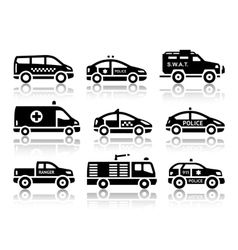 Set of service automobiles black icons vector image vector image