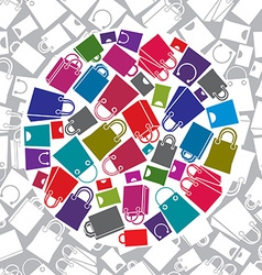Shopping bags icon set with seamless pattern in vector image vector image