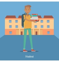 Student stand with book on background of college vector