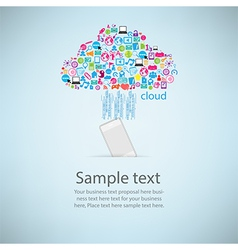 Template design phone idea with clicking cloud vector