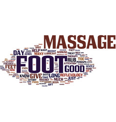 The joy of the foot massage text background word vector