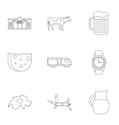 Tourism in Switzerland icons set outline style vector image