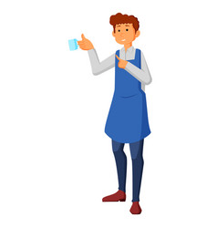 waiter holding a cups of tea or coffee with steam vector image