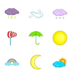 Weather icons set cartoon style vector image