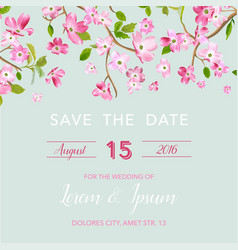 wedding invitation spring floral frame vector image vector image