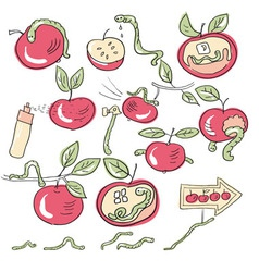 worms and apples vector image