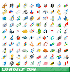 100 strategy icons set isometric 3d style vector