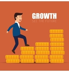 Concept growth success businessman walk stairs vector