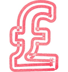 Abstract pound symbol made with red marker vector