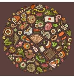 Set of japan food cartoon doodle objects symbols vector