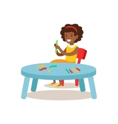 Girl sculpting putty creative child practicing vector