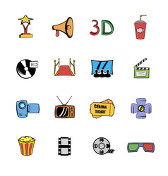 cinema comics icons set cartoon vector image