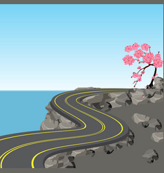 a winding road with markings among rocks and vector image