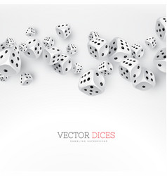 Dice floating on white background vector
