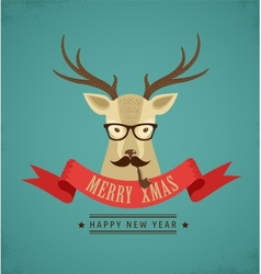 Christmas background with hipster deer and ribbon vector image