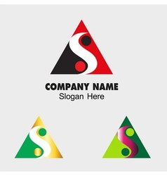 Triangle sign with s letter and ying yang icon vector