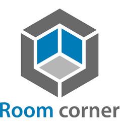 3d isometric empty room corner symbol vector