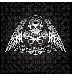 Bikers land silver crest with skullwings and vector