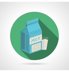 Flat color icon for milk pack vector