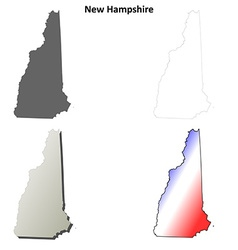 New hampshire outline map set vector