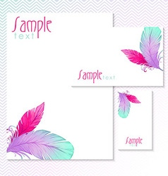 Watercolor card with bird feathers vector