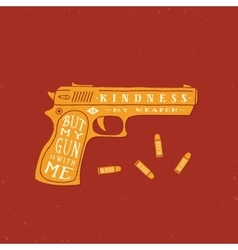 Kindness is my weapon abstract retro card vector