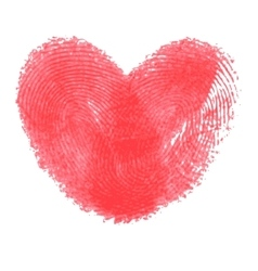 Creative poster with double fingerprint heart vector