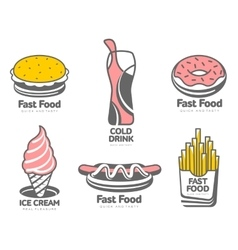 Set of logos with fast food vector