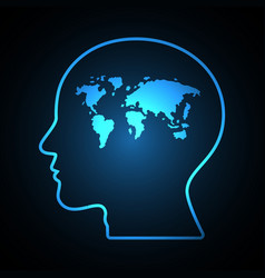 abstract world map human head vector image