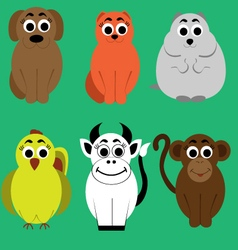 Animals flat set vector image vector image
