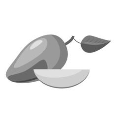 Avocado icon gray monochrome style vector