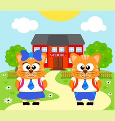 Back to school background with cat vector