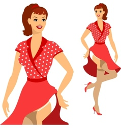 Beautiful pin up girl 1950s style vector