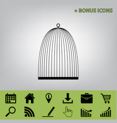 Bird cage sign black icon at gray vector