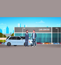 Car showroom background purchase sale or rental vector