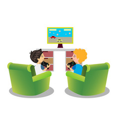 cartoon kids playing video games together vector image vector image