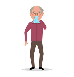 Cartoon old man caught cold sneezing ill vector